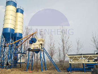 HZS50 Concrete Batching Plant With 3800mm Discharging Height, Cement Batching Plant